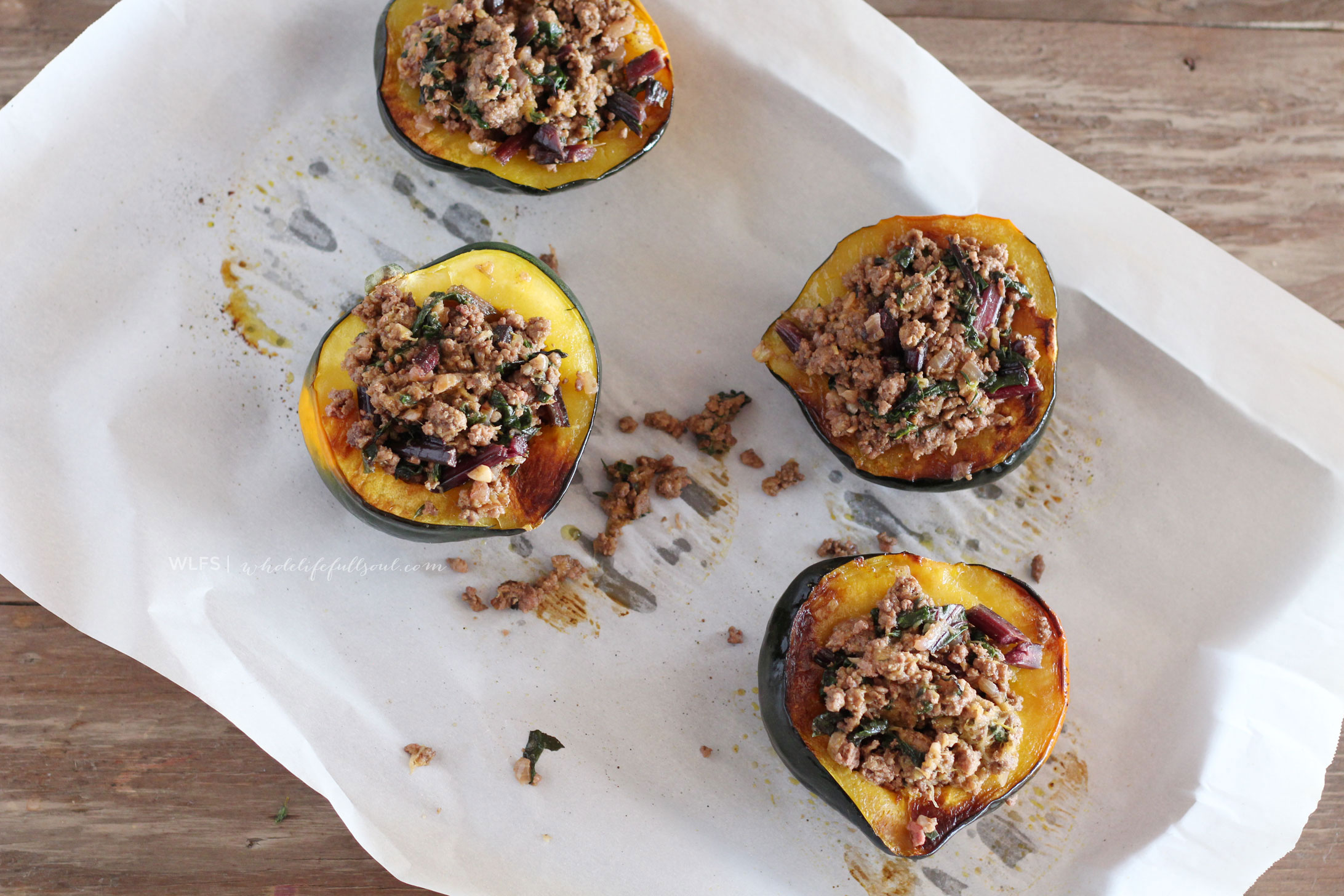 Lamb & Beet Greens Stuffed Acorn Squash